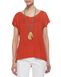 Eileen Fisher - Red Linen Jersey Cap-sleeve Top - Lyst