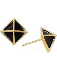 Macy's | Black Onyx Pyramid Stud Earrings In 14k Gold (5mm) | Lyst