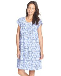 Eileen West - Blue 'mystic' Print Cotton Short Nightgown - Lyst