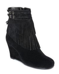 Aerosoles - Black Plumming Bird Wedge Ankle Boots - Lyst