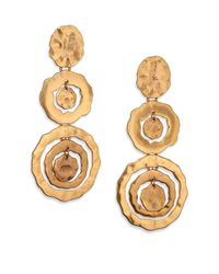 Oscar de la Renta | Metallic Circle Triple-Drop Earrings | Lyst