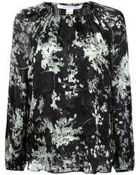 Diane von Furstenberg - Black Gathered Printed Blouse - Lyst
