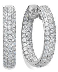 Arabella | Metallic Sterling Silver Swarovski Zirconia Pave Hoop Earrings (8-1/2 Ct. T.w.) | Lyst