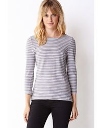 Forever 21 | Gray Essential Striped 3/4 Sleeve Top | Lyst