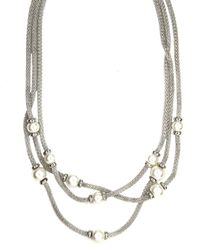 Anne Klein | Metallic Triple Pearl Necklace | Lyst