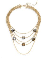 Saks Fifth Avenue | Metallic Geo Stone Multi-strand Necklace/goldtone | Lyst