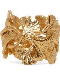 Aurelie Bidermann - Metallic Gold Plated Ginkgo Leaves Ring - Lyst