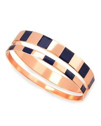 Tuleste - Blue Enamel Step Bangles In Navy/rose - Lyst