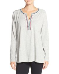 Lucky Brand | Gray Embroidered Top | Lyst