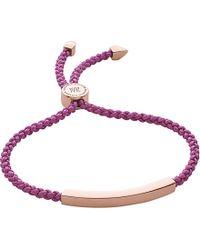 Monica Vinader - Purple Linear 18ct Rose Gold-plated Woven Friendship Bracelet - Lyst