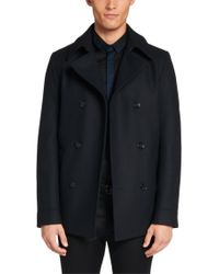 HUGO - Blue Jacket In New-wool Blend: 'beven' for Men - Lyst