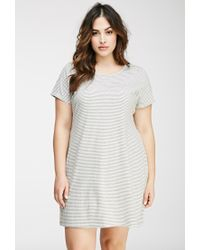 Forever 21 - Gray Striped Tee Shirt Dress - Lyst