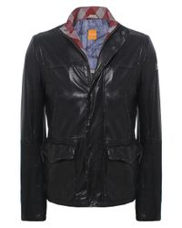 BOSS Orange | Black Jerian Leather Jacket for Men | Lyst