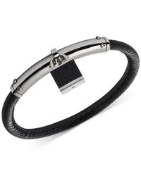 Michael Kors - Black Silver-Tone Padlock Bangle Bracelet - Lyst