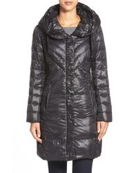 T Tahari Black 'juliana Gisele' Hooded Down Coat