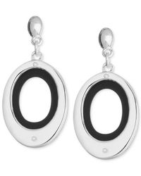 Nine West | Metallic Silver-tone Black Open Oval Drop Earrings | Lyst