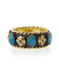 Armenta - Blue Old World Thick Stackable Band Ring With Opals & Diamonds for Men - Lyst