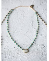 Free People - Blue Two In One Stone Necklace - Lyst
