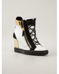 01567ab1c334 Lyst - Giuseppe Zanotti Concealed Wedge Trainers in White