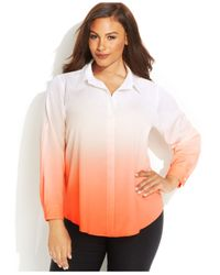 Calvin Klein - Orange Plus Size Roll-Tab-Sleeve Dip-Dye Blouse - Lyst