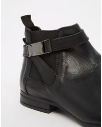 ASOS - Chelsea Boots In Black Leather With Seatbelt Buckle - Lyst
