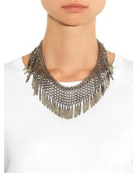 Saint Laurent | Metallic Plumes Fringe Necklace | Lyst