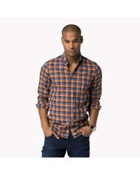 Tommy Hilfiger - Orange Cotton Slim Fit Shirt for Men - Lyst