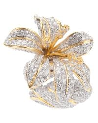 Noir Jewelry | Metallic Strass Flower Ring | Lyst