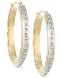 Macy's - Metallic Diamond Accent Chunky Large Hoop Earrings In14k White Or Yellow Gold - Lyst