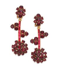 Oscar de la Renta | Metallic Crystal Flower Clip-on Drop Earrings | Lyst