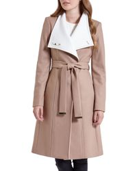 Ted Baker | Natural Lorah Long Wool Wrap Coat | Lyst