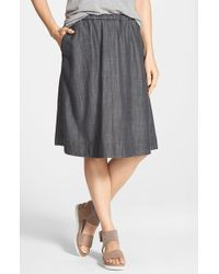 Eileen Fisher | Black Gathered Chambray Skirt | Lyst