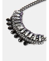 Violeta by Mango | Gray Rhinestone Chain Necklace | Lyst
