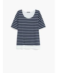 Violeta by Mango - Blue Striped Cotton T-shirt - Lyst