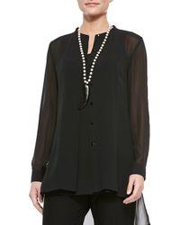 Eileen Fisher - Black Long-sleeve Sheer Silk Long Shirt - Lyst