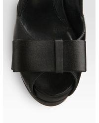 Fendi - Black Deco Satin Bow Platform Pumps - Lyst