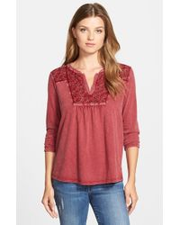 Lucky Brand | Red Lace Detail Cotton Top | Lyst