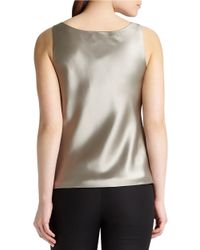 Lafayette 148 New York | White Silk Charmeuse Bias Cut Tank | Lyst
