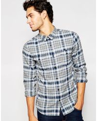 SELECTED | Blue Brushed Check Shirt for Men | Lyst