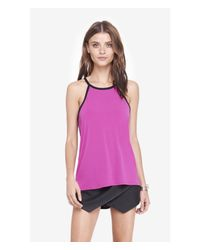 Express | Purple Contrast Trim High Neck Trapeze Cami | Lyst