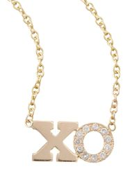 Zoe Chicco - Metallic Pave Diamond Xo Pendant Necklace - Lyst
