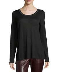 VINCE | Black Long-Sleeved Crepe Top | Lyst