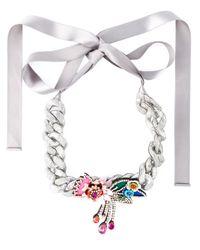 Shourouk | Metallic 'flower Chain' Necklace | Lyst