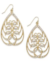 2028 | Metallic Gold-tone Crystal Openwork Teardrop Earrings | Lyst