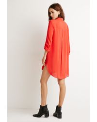 Forever 21 - Red Longline Button-tab Shirt - Lyst