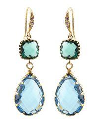 Indulgems | Blue Quartz & Green Glass Station Teardrop Earrings | Lyst