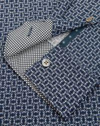 Ted Baker | Blue Trammo Tile Print Cotton Shirt for Men | Lyst