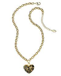 Guess - Multicolor Necklace, Leopard Print Heart Pendant - Lyst