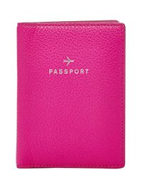 Fossil | Pink 'Gifts' Leather Passport Case | Lyst