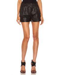 Nicholas - Black Leather Gathered Waist Short - Lyst